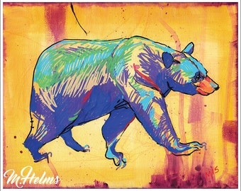 Print or Note Card: Bear Posca-Sketch