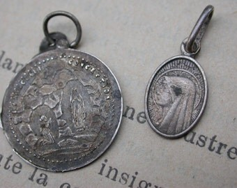 2PCS French antique religious medal sterling silver religious Virgin mary Our lady de lourdes gothic notre dame