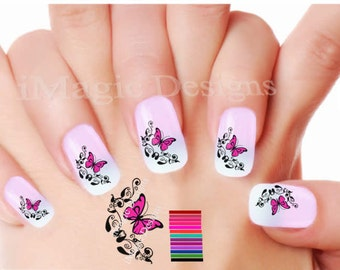 Water Slide Nail Decals Stickers, Fancy Butterfly, Easy Nail Transfers
