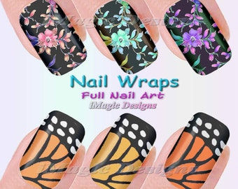 Nail Wraps, Waterslide Full Nail Decals, Stickers, Monarch Wings or Flowers
