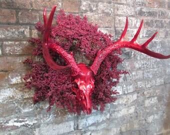 Red Christmas Deer Chrome 7 Point Deer Head