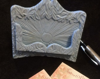 Cast Iron business card holder in light blue
