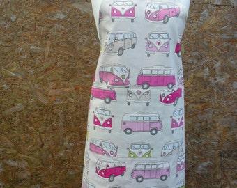 VW Camper Vans, reversible apron.  Adult apron. Reverse is cerise pink with white polka dots. Long Apron. Item No. LDC0272