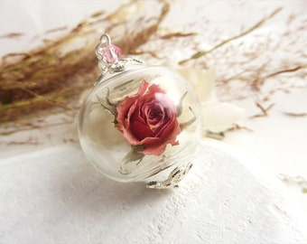 Real Rose Necklace, Real Flower Necklace, Rose Necklace, Pink Rosebud, Real Flower Jewelry, Romantic Gifts, Valentine Gift