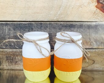 Candy Corn Fall Mason Jars. Set of (2). Handpainted Fall and Halloween Decor.