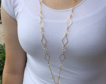 Golden Crystal Beauty Lanyard Necklace - Beaded Lanyard