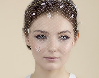 Ivory Birdcage Veil, Lace Blusher Veil, Veil Head Band Band, Wedding Headband - Giselle