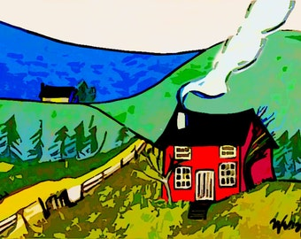Little Red House (Woodcut Style)