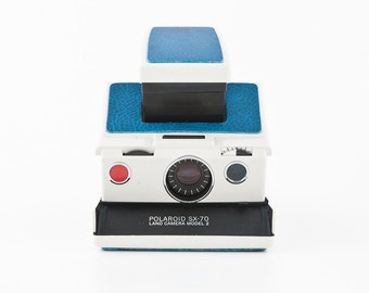 Polaroid SX-70 Model 2 land camera new Blue Napa Cowhide leather covering - film tested and Guaranteed Working uses Impossible SX70 film
