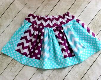 girls skirt purple and aqua skirt chevron and polka dot skirt for girls little girl twirly skirt bithday skirt mermaid ocean summer skirt