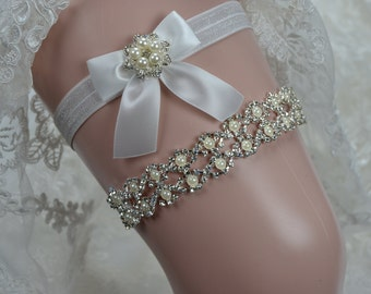 Wedding Garter,Garter Rhinestone And Pearl Garter,Garter Belt, Garder set