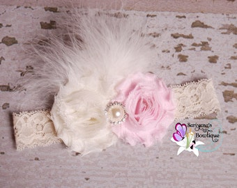Light Pink Ivory Shabby Flower Pearl Rhinestone Feather Headband, Vintage Headband, Newborn Headband, Flower Girl, Wedding, - SB-005a