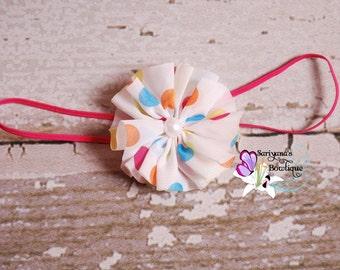 Polka Dot White Chiffon Twirl Pearl Headband - Baby Girl Toddler Preemie Tiny - SB-080