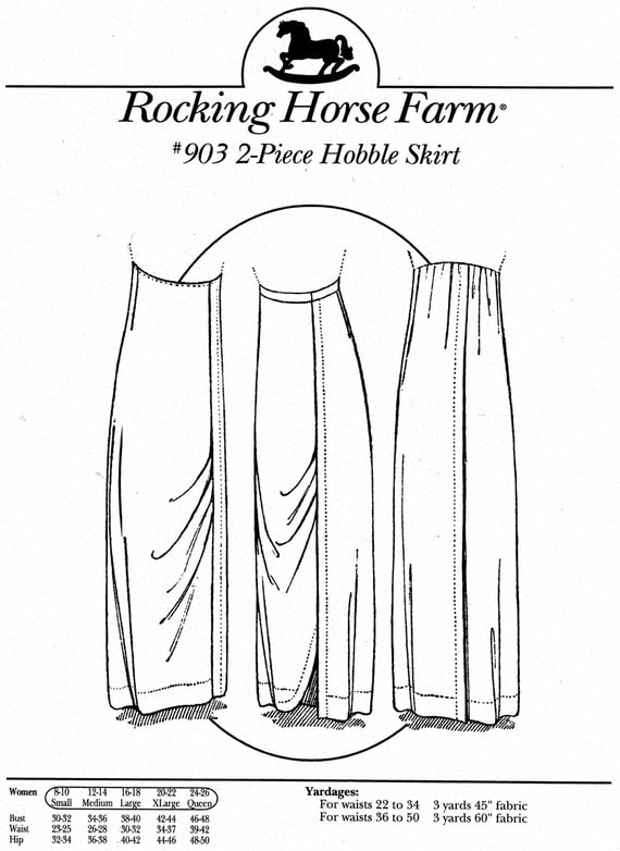 Edwardian Style Skirts Hobble-skirt Sewing Patterns by Rocking Horse Farm $11.95 AT vintagedancer.com