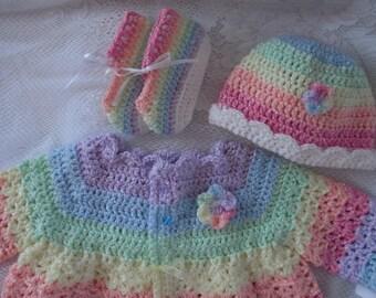 Pastel baby sweater set crochet baby girl sweater rainbow baby rainbow sweater baby girl crochet sweater 0 to 3 months crochet baby sweater