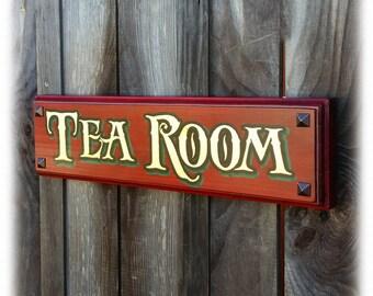 Tea Room sign hand gilded 23k gold leaf on wood