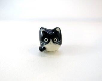 Tuxedo Cat Necklace Black White Cat Charm Necklace Tuxedo Cat Gift Fat Cat Pendant Pet Jewelry Cat Lover Gift Animal Necklace