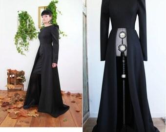 maxi dress, over skirt, oversized evening dress, black maxi dress, high low maxi dress, puff sleeves dress, evening gown