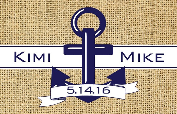 Nautical Anchor Burlap Look Paper Placemats Premium Rehearsal Dinner Decorations Personalized Place Mats Monogram Wedding Table Decor