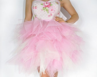 Dress TUTU Sunshine Roses bustier forms printed heart peas and pink flower