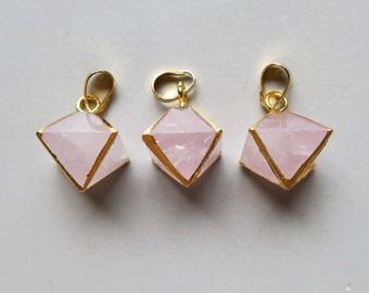 Octahedron shape Rose Crystal Pendant with Electroplated Gold Edge - B1351