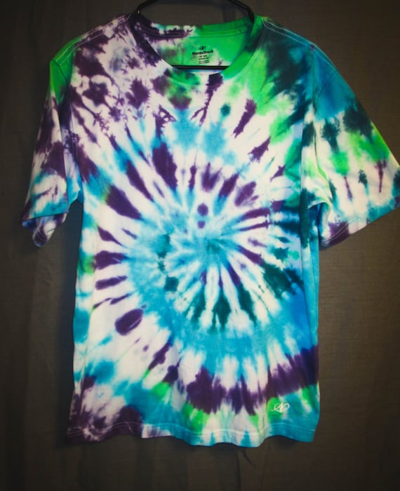 Tie Dye Shirt/Adult T-Shirt/Short Sleeve/Green, Blue & Purple Spiral/Eco-Friendly Tie Dye
