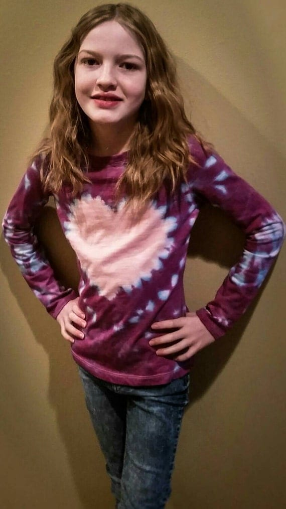 Valentines Day Gift for Her/Kids/Children/Daughter/Hand Dyed Heart Youth Tie Dye Long Sleeve T-Shirt