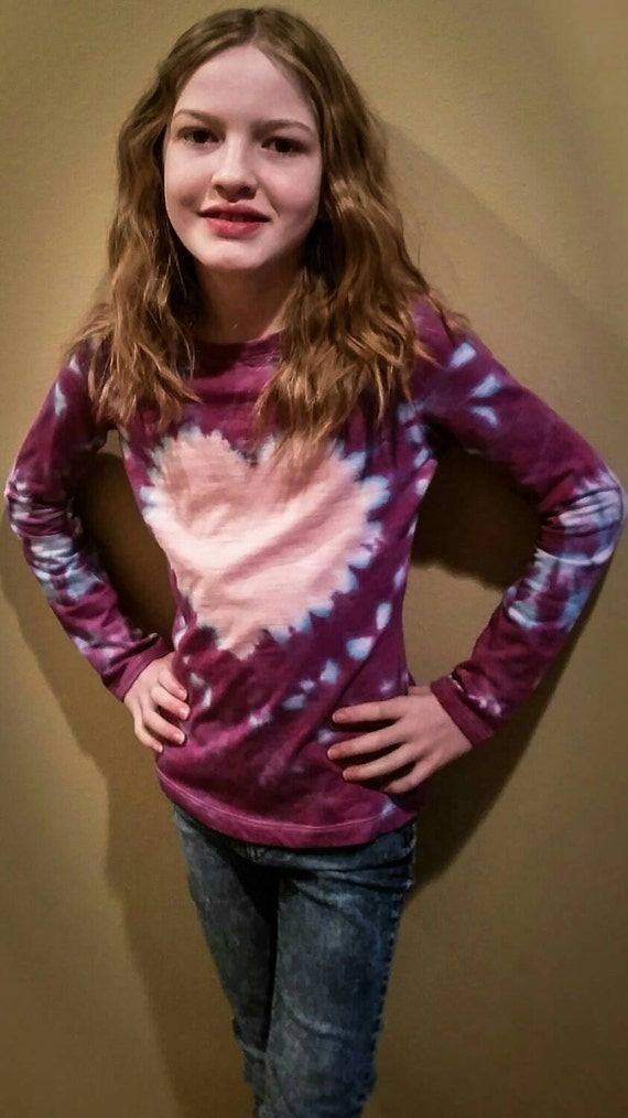 Valentines Day Gift for Children/Kids/Dsughter/Hand Dyed Heart Youth Tie Dye Long Sleeve T-Shirt