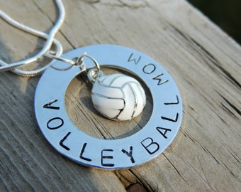 Personalized Hand Stamped VOLLEYBALL MOM necklace custom jewelry Sports jewelry team