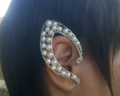 SALE!! Elven Elf Ear Cuffs Pearl Jewelry Valentines Day Gifts Elf  Earring Natural Pearl Unique Non Pierced Ear Cuff Jewelry