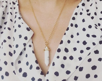 White Howlite Crystal Point Pendant Necklace