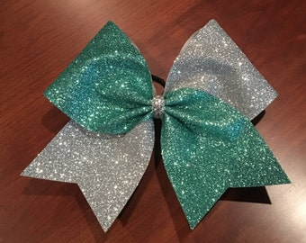 Cheer Bow - Teal and Silver Glitter