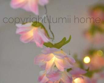 Pink and cream flowers 20 LED string fairy lights bedroom nursery decoration, girl birthday gift, mothers day