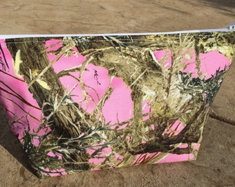 Pink Camo Large Cosmetic Bag - Travel Makeup Bag - Toiletry Bag Women - Make Up Organizer - Makeup Bag Set Teen Girl Gifts