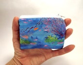 Ocean zipper pouch, coral wallet, coin purse, diving accessory, scuba change purse, card wallet, coral reef