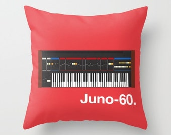 Roland Juno 60 Throw Pillow Cushion Synth Keyboard Synthesizer Piano Music Gift Home Gifts for Him Interior