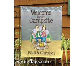 Personalized Camping Flag, Garden or House Flag, Welcome to our Campsite, couple at campfire, CF-28