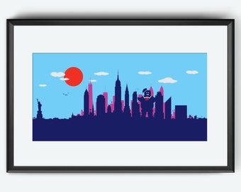 New York Skyline art print, Stay Puft Marshmallow Man Ghostbusters inspired print Ghostbusters art print Manhattan artwork nursery art print