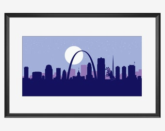 St Louis Skyline print, St Louis print, St Louis art, St Louis poster, Tremors inspired Print, Graboid print, Graboid art, Graboid poster