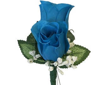 Boutonniere:artificial rose bud with baby breath-select rose bud colors