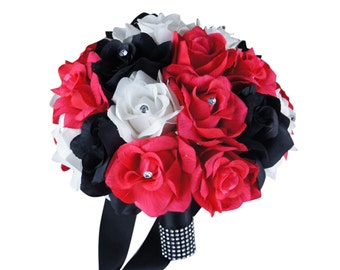 "10"" Bridal Bouquet - Hot Pink, Black, and White"