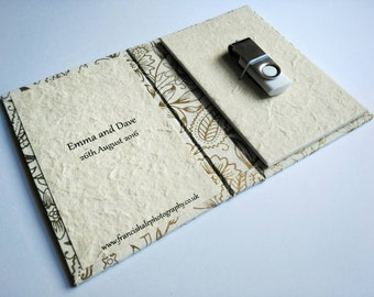 Personalised USB Stick Case, Various Lokta Paper, Personalised Inside.
