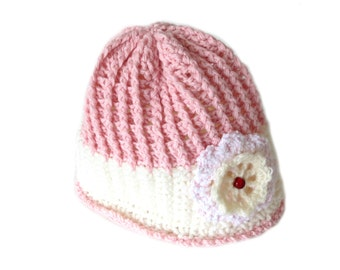 Pink and White CROCHET HAT for Girls - Crochet Hat with a Crochet Flower - Unique Handmade Hat for Girls