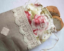 French linen and floral fabric drawstring bread bag