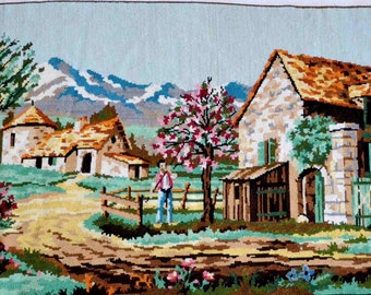 French countryside landscape needlepoint tapestry , French farmhouse  needlepoint tapestry