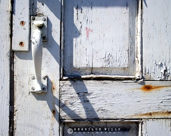 Fine Art Print, Old White Door , Minimalistic Decor, Urban Photography, Color.