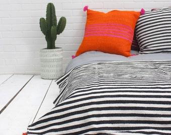 Moroccan Black & White stripe cotton blanket with tassels