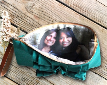 Photo Wristlet Purse for Your Best Friend- Mothers Day or Birthday Gift Idea- Teal Red Black Gray And More