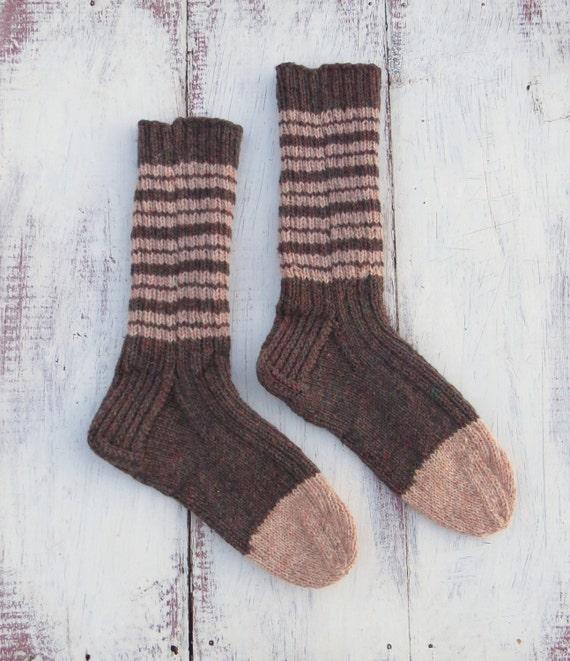 Womens Knit Wool Socks Hand Knit Womens Brown Pink Heavy Work