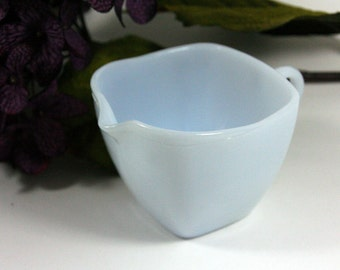 Fire King Charm creamer-Azur-ite color-frosty blue-square creamer-mid century kitchen